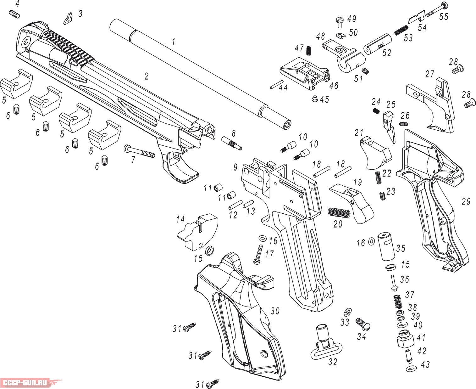 взрыв схема пневматический пистолет borner