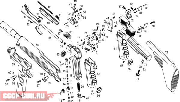 Взрыв схема на пневматический пистолет МР 651К скачать