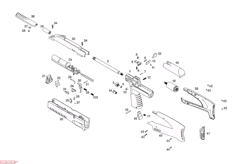 пневматический пистолет схема