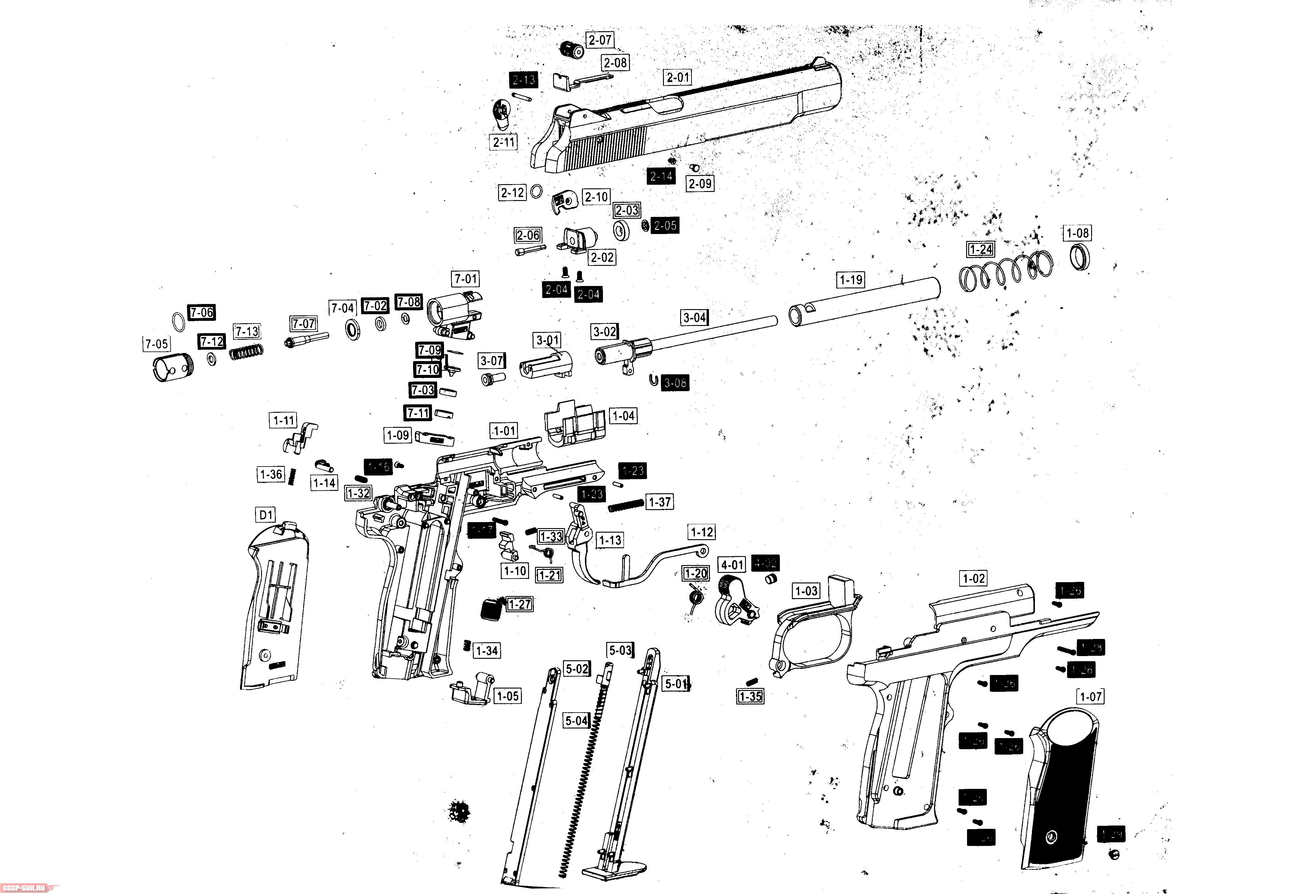 пистолет стечкина схема сборки