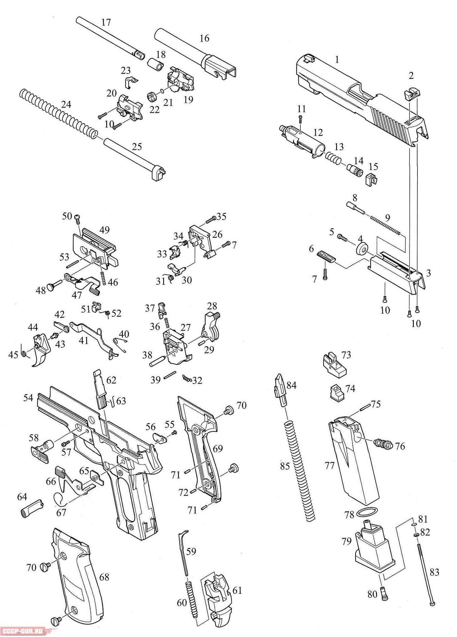 схема насоса пневматических пистолетов
